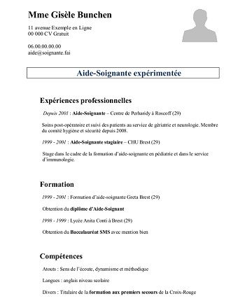 modele de cv belge gratuit