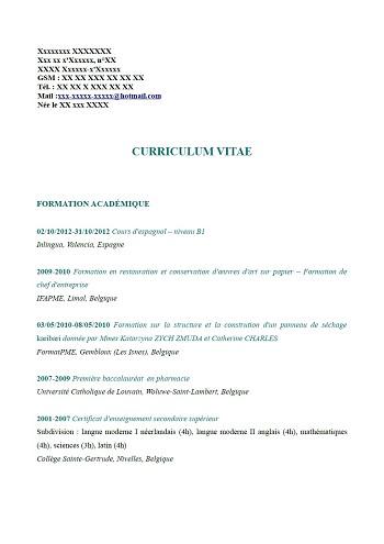 modele de cv belge