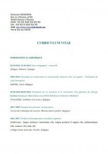 modele de cv belgique