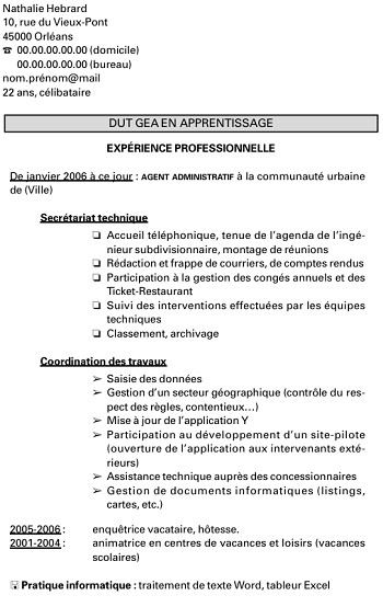 exemple de cv pole emploi