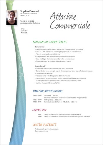 modele de cv commercial