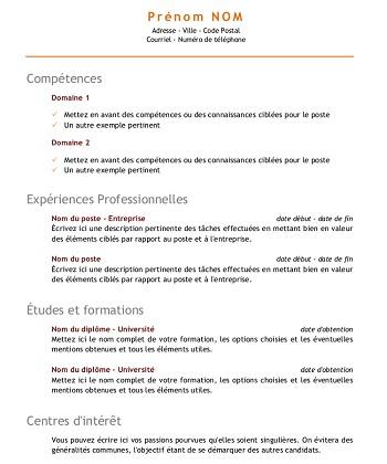 modele de cv competence
