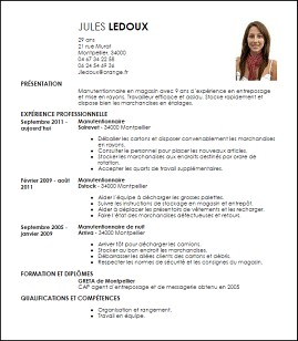exemple de cv manutentionnaire modele de cv d'un manutentionnaire exemple de cv manutentionnaire