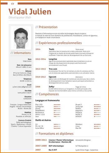 modele de cv developpeur web