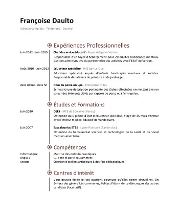 modele de cv educateur specialise