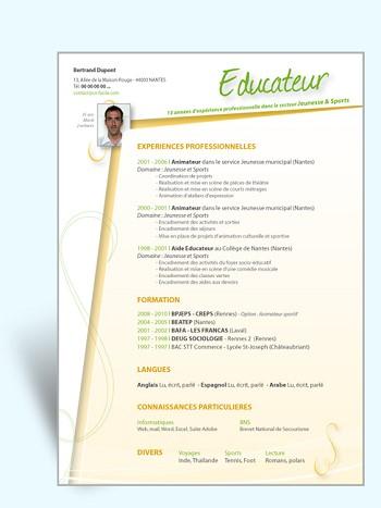 modele de cv educateur specialise