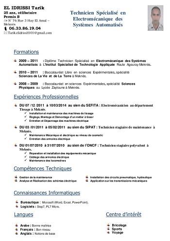 modele de cv electromecanicien