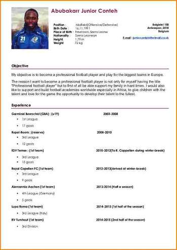 modele de cv footballeur gratuit