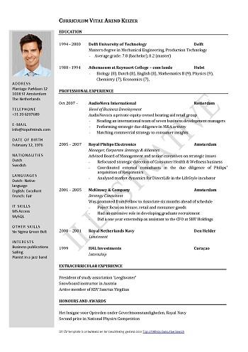 modele de cv format pdf