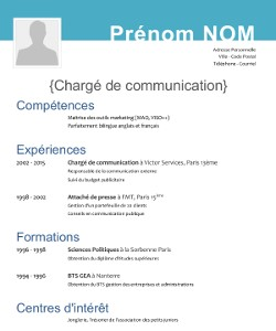 modele de cv gratuit sans photo