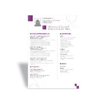 modele de cv hotesse d'accueil standardiste