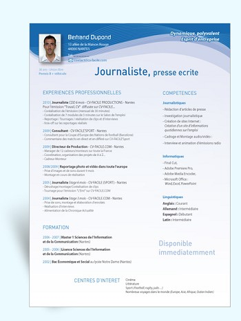 modele de cv journaliste