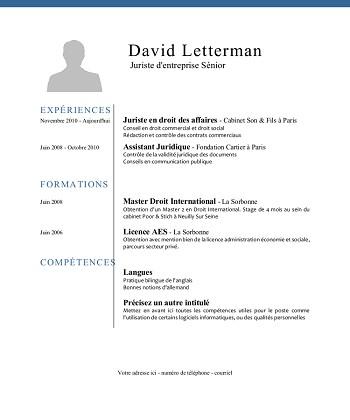 modele de cv juriste droit social