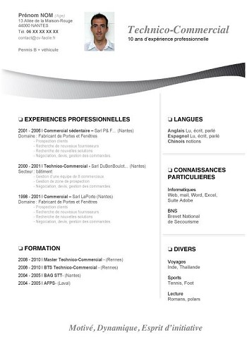 modele de cv lettre de motivation
