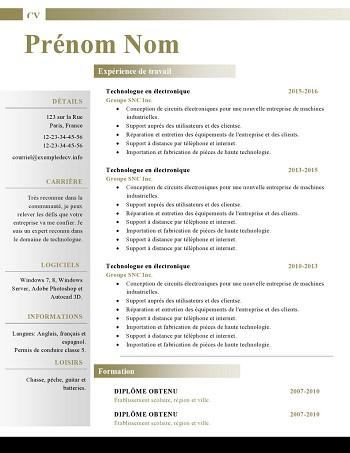modele de cv nutritionniste