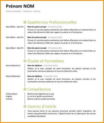 Modele de cv pour open office - Modele cv open office gratuit ...