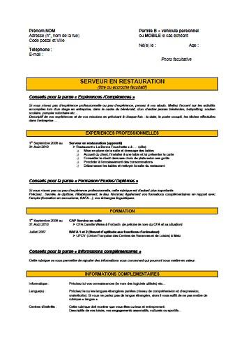 modele de cv pour un contrat d'apprentissage