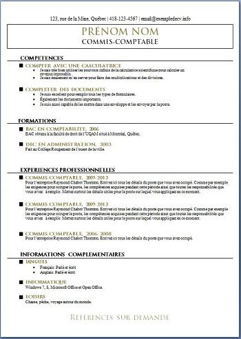 modele de cv pour un emploi