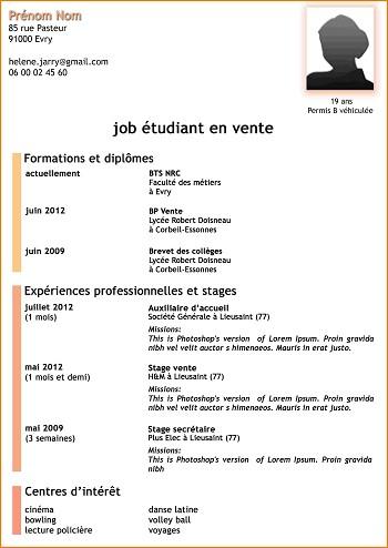 modele de cv pour un job etudiant