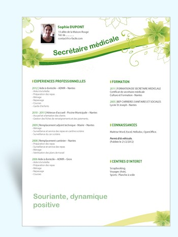 modele de cv secretaire medicale