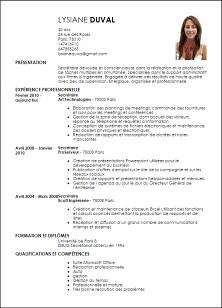 modele de cv secretariat