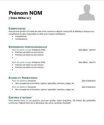 modele de cv simple a remplir