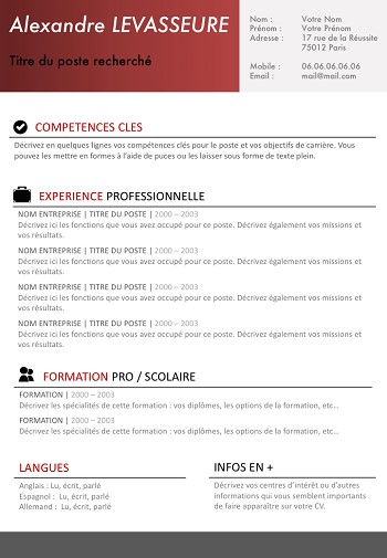 modele de cv simple et efficace