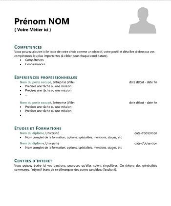 modele de cv simple et gratuit