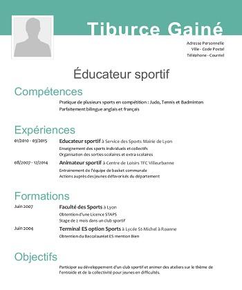 cv sportif exemple gratuit modele de cv sportif cv sportif exemple gratuit