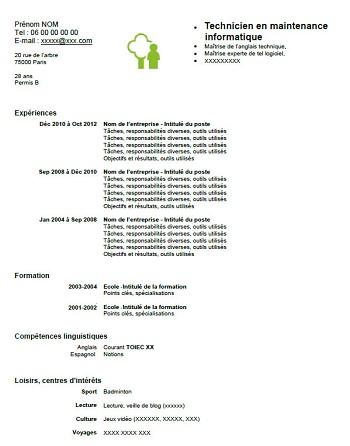 modele de cv technicien en informatique