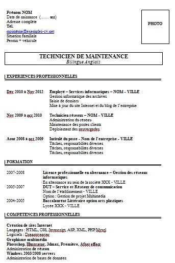 modele de cv technique