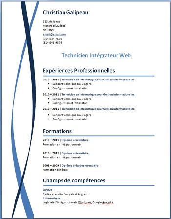 modele de cv telechargeable word