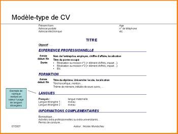 modele de cv type