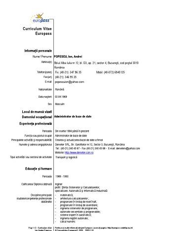 modele de cv uri europass completate